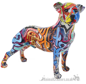 Large Graffiti Art bright colour mixed breed Dog lover gift ornament figurine
