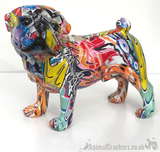Graffiti Art bright coloured paint splash effect standing Pug ornament figurine