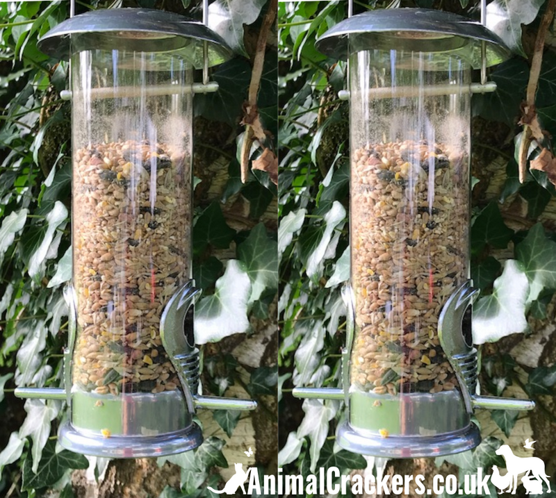 "Set of  2 x 12"" wild bird seed feeder from Natures Market Deluxe range, sturdy cleanable and easy fill"