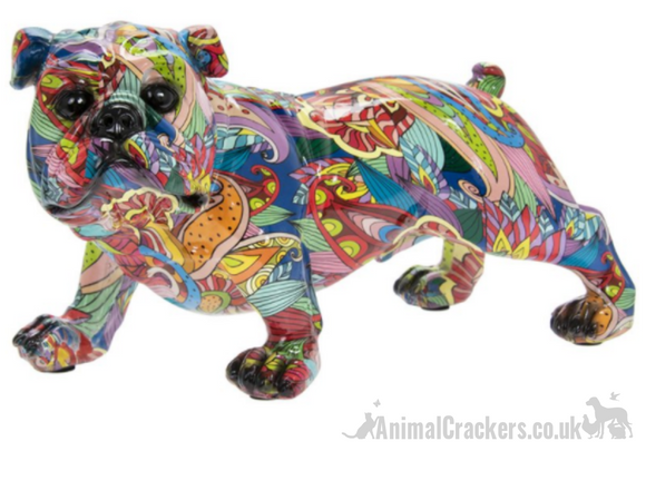 Groovy Art coloured Standing English Bulldog ornament figurine Dog lover gift