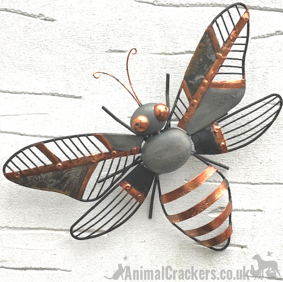 Striking 31cm Grey & Copper metal HONEY BEE wall art garden ornament / sculpture