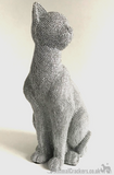 Large 26cm Glitzy glittery silver diamante effect Cat ornament from Leonardo