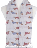 Ladies lightweight Dachshund in spotted coat print Scarf Sarong in choice of colours, great Sausage Dog lover gift!