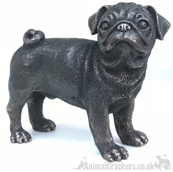 Cold Cast Bronze Pug quality heavy sculpture ornament figurine statue gift boxed