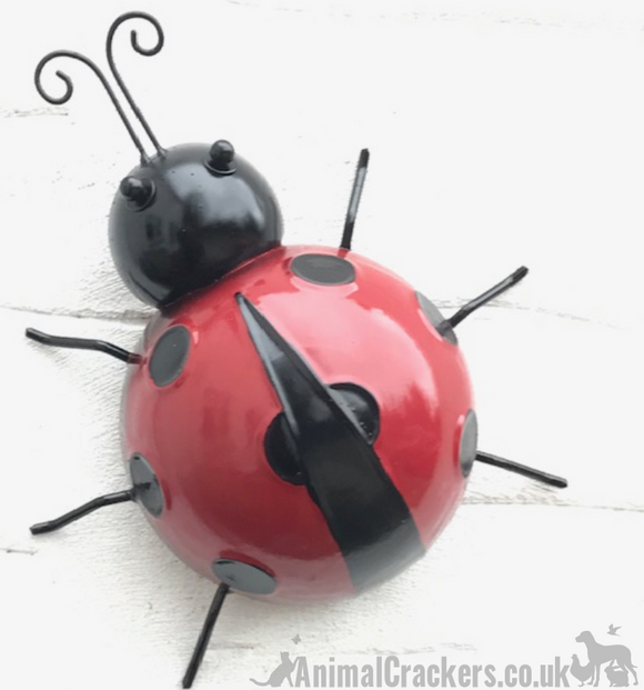 Large 26cm Metal LADYBIRD wall art garden ornament sculpture decoration