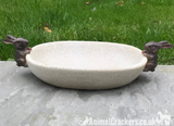 Bird Bath/feeder, aged stone effect bowl with Rabbit decorations, great Bunny lover gift
