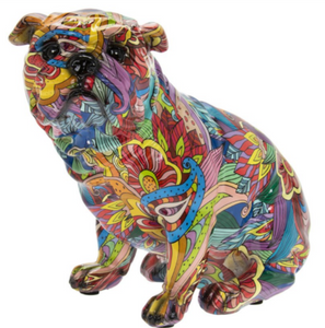 GROOVY ART bright colour painted sitting English Bulldog ornament figurine Bull Dog lover gift