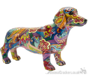 GROOVY ART bright coloured Dachshund ornament figurine Sausage Dog lover gift