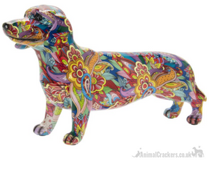 Large 43cm GROOVY ART colourful Dachshund ornament figure Sausage Dog lover gift
