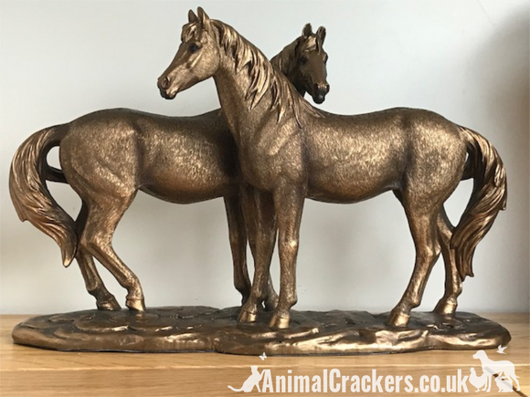 Large 30cm 2 Horses ornament from the Leonardo Bronzed range,  gift boxed