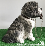 Large 17cm Grey Shih Tzu ornament figurine quality Leonardo walkies range, boxed
