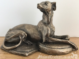 Harriet Glen Cold Cast Bronze Laying Whippet sculpture ornament figurine statue