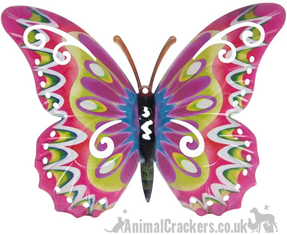 Large 35cm bright Pink multi colour metal Butterfly ornament wall art decoration
