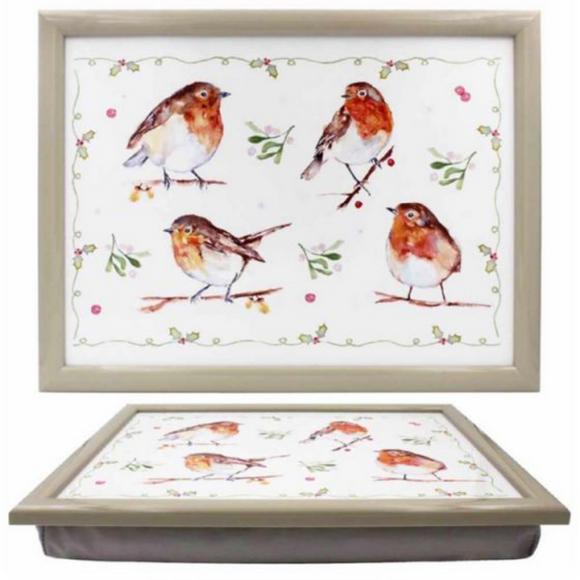 'Winter Robins' Design Padded Lap Tray or laptop Cushion, Robin lover gift