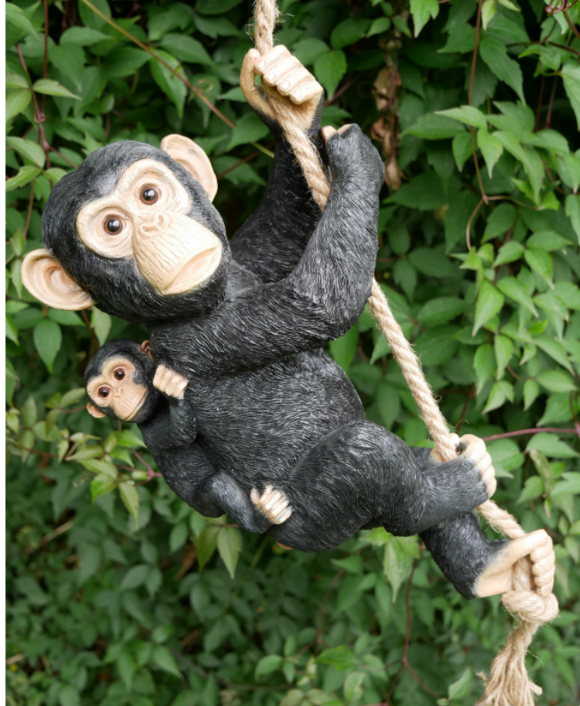 Adorable rope hanging Monkey Mother & Baby ornament, novelty sculpture garden decoration, great chimp lover gift