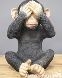 SET 3 Wise Monkeys in classic 'See, Hear, Speak no evil' poses, indoor or garden ornament, great chimp lover gift
