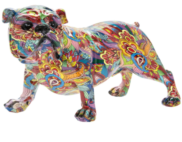 Large 38cm GROOVY ART coloured standing English Bulldog ornament figurine Dog lover gift