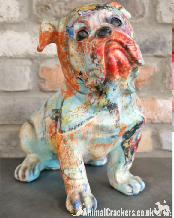 Large 34cm colour paint splash Bulldog lover gift ornament sculpture decoration