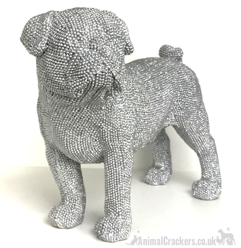 EXTRA LARGE!! 32cm Glitzy silver glitter diamante standing Pug ornament decoration