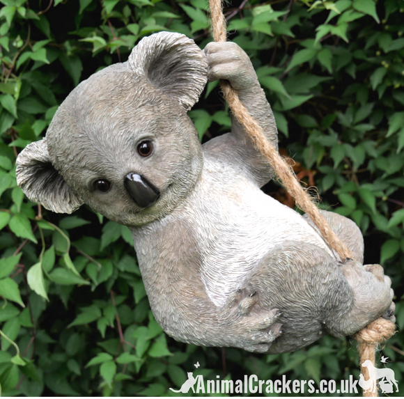 Large Rope tree hanging Koala, novelty garden ornament/ figurine. Great Koala lover gift