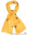 Glittery BEE PRINT Scarf Sarong Blue Mustard or White cotton mix Bee lover gift