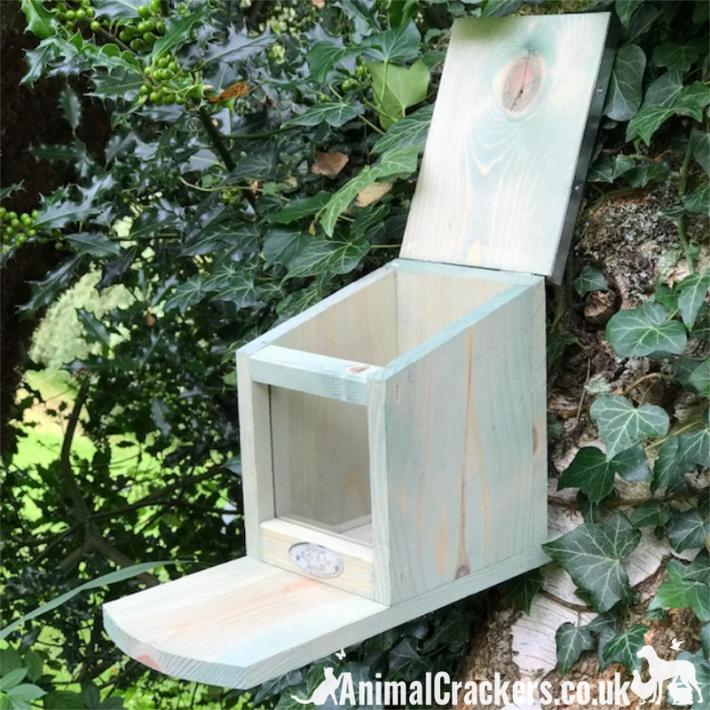 Squirrel feeder in chunky wood with flip top tin roof, robust and easy hang, great squirrel lover gift