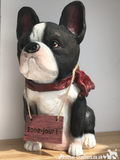 French Bulldog with 'Bone Jour!' play on words sign ornament, novelty Frenchie lover gift