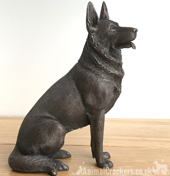 16cm Bronze sitting German Shepherd Alsatian ornament figurine Dog Lover gift