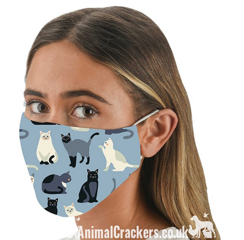 Comfortable washable Cat Print Face Mask from Snoozies, great quality Cat or Kitten lover gift
