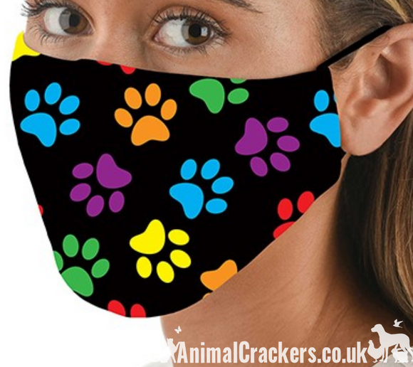 Comfortable washable 3 LAYER Paw Print Face Mask from Snoozies, great quality Cat or Dog lover gift