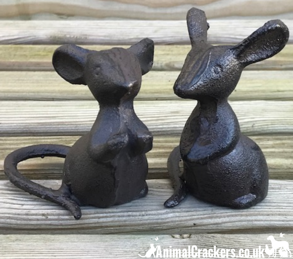 Set of 2 heavy solid cast iron mice indoor ornaments or garden decorations, great mouse lover gift