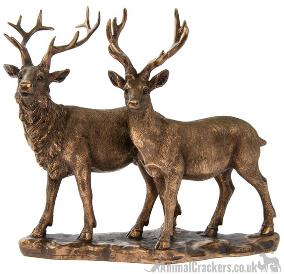 Large (25cm) Stag with Deer ornament from the Bronzed Reflections range by Leonardo, gift boxed