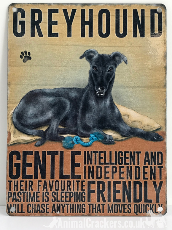 20cm metal vintage style Grey Blue Greyhound breed character hanging sign plaque