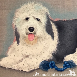 20cm metal Old English Sheepdog Sheep Dog lover breed character hang sign plaque