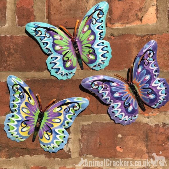 3x 16cm Pastel coloured Metal Butterflies, indoor or garden decoration