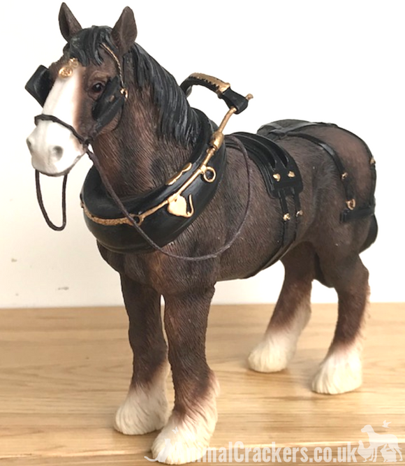 Bay Shire Cart Heavy Horse in harness ornament figurine from Leonardo, gift boxed