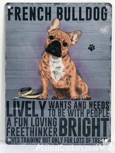 20cm metal vintage style French Bulldog Frenchie breed character hanging sign