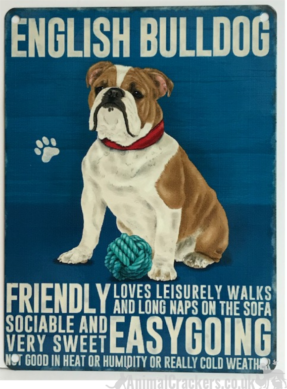 20cm metal vintage style English Bulldog lover breed character hang sign plaque