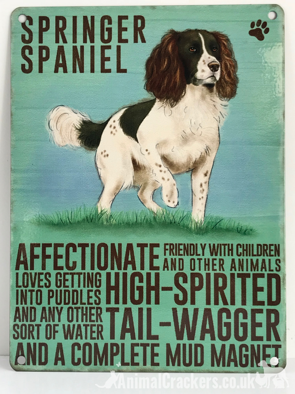 20cm metal vintage style Springer Spaniel breed character hanging sign plaque