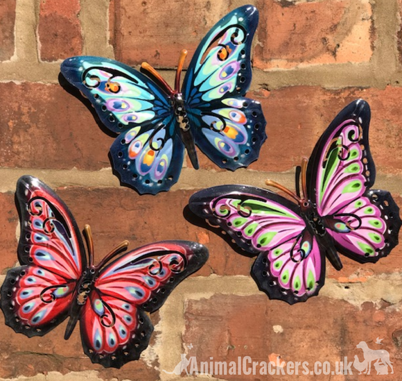 3x 16cm colourful (Red, Blue and Pink) Metal Butterflies, indoor or garden decoration