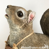 Cheeky Squirrel with removable 'Bird Feeders Empty' sign garden ornament, great Squirrel lover giftxed