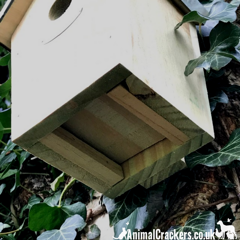 Tin Roof Bird house nest box for the WREN or other small garden birds, chunky pale green wood stained finish
