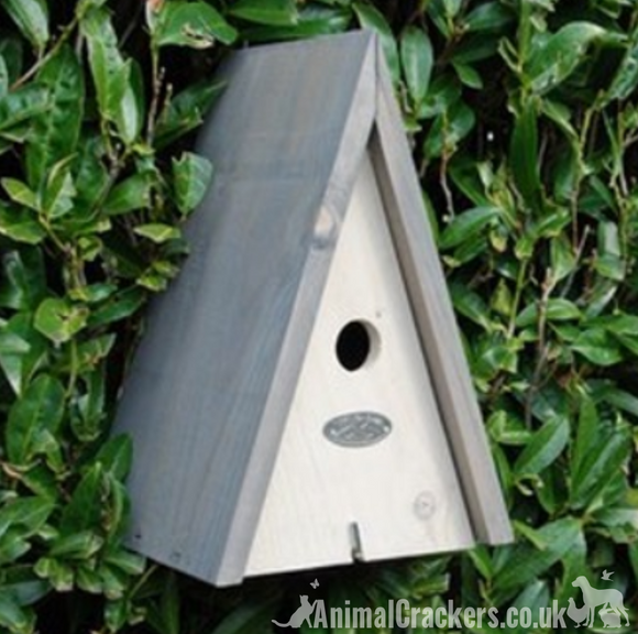 Grey finish Wooden Triangular bird house nest box for the Blue Tit & other small garden birds