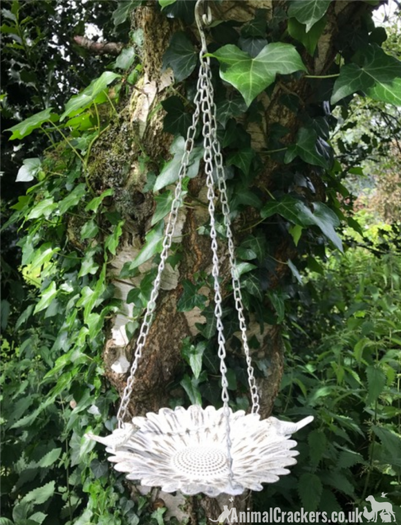 Metal Flower shaped hanging wild bird seed feeder, garden bird lover gift