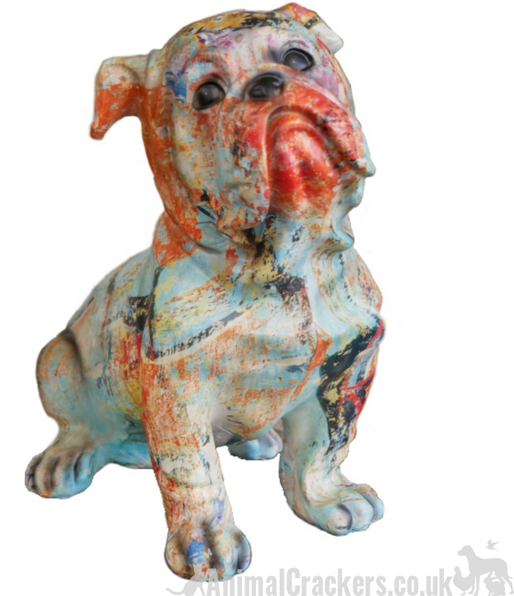 Large 34cm colourful painted Bulldog lover gift ornament sculpture decoration