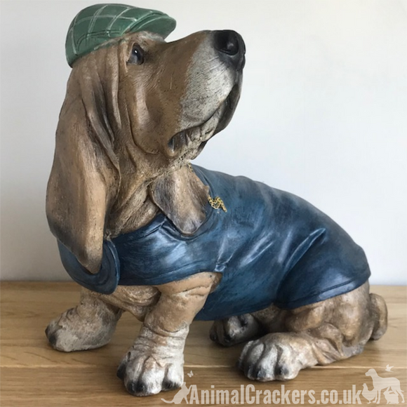 Large Basset Hound in cap & coat ornament sculpture decoration dog lover gift