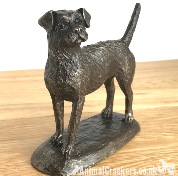 Quality Bronze Border Terrier ornament figurine by Harriet Glen, dog lover gift