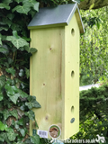 TRIPLE SPARROW HOUSE FLAT BIRD BOX chunky wood zinc roof garden bird lover gift