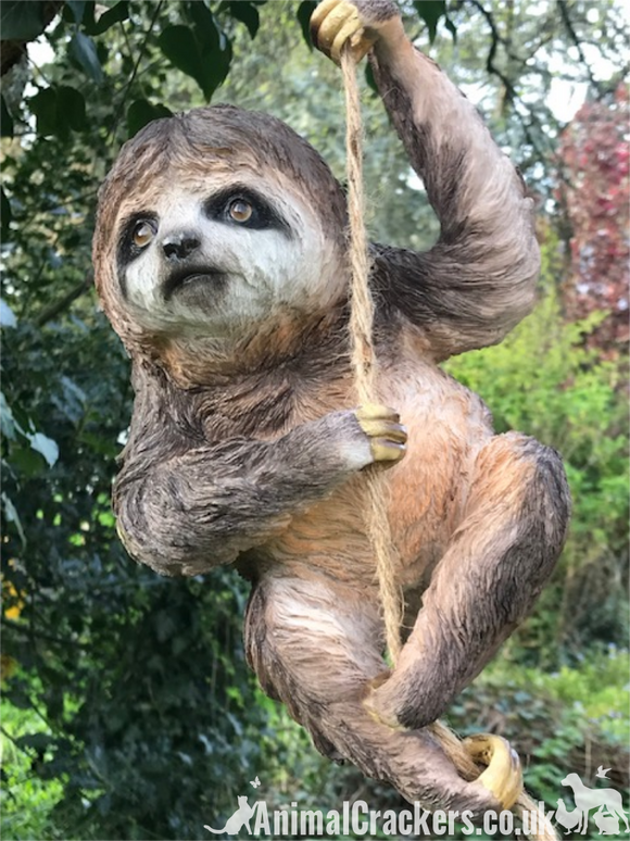 Large climbing Sloth on rope garden ornament, great Sloth lover gift