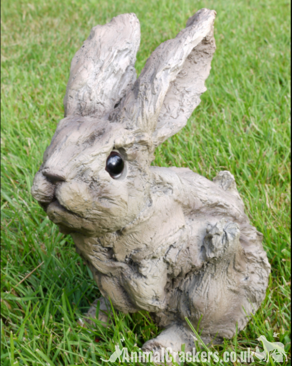 Wood effect rabbit bunny lover gift garden ornament decoration sculpture figure